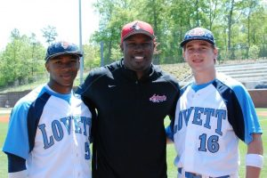 The showcase experience has helped Lovett High School players Grant Haley, left, a Vanderbilt recruit, and Drew Williams, far right, a rising senior (shown with CJ Stewart).