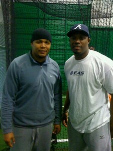Former MLB slugger and current Japanese player Andruw Jones and CJ Stewart following a Diamond Directors' Hitting Lab session.